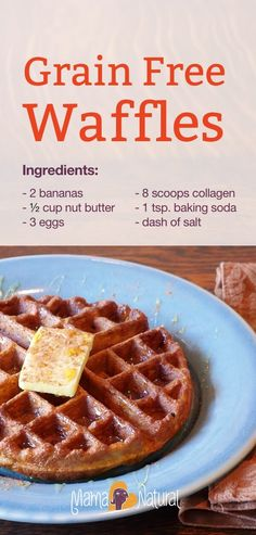 Here's a delicious grain-free waffle recipe that's packed with protein and made with banana, eggs, and collagen peptides. Seriously tasty and kids love it.