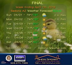 FINAL - WE 4/7/18 Sedona AZ Weather Coffeepot Cottages
