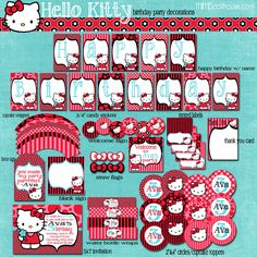 Hello Kitty Party Decorations-Printable Hello Kitty Birthday Party Decorations PDF. $26.99, via Etsy.