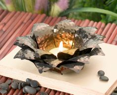 Lotus Hammered Metal Tealight Holder from Grasslands Road- Retreat Collection #GardenDecor #GrasslandsRoad #Candle #Table #GiftIdea