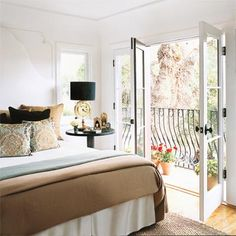 Master bedroom... I wanna do these colors! So fresh and classic looking