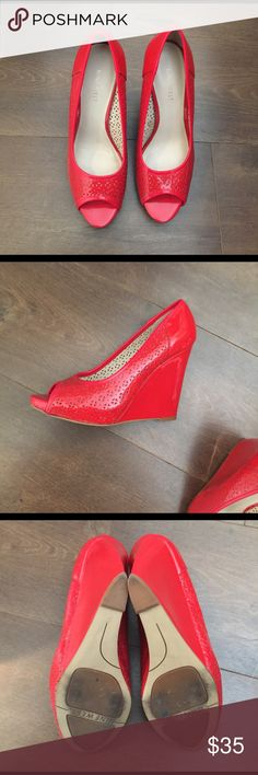 Hot Red Nine West heels Hot red Nine West heels - good used condition. One scuff on the right heel as shown in pictures. Worn a handful of times. Size 6.5. Nine West Shoes Wedges