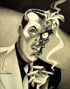 Two-Face in Ralph Bellamy style, by Bruce Timm
