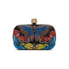 Alexander McQueen Butterfly Skull Clutch with Chain ($2,665) ❤ liked on Polyvore featuring bags, handbags, clutches, skull purse, hand bags, handbags purses, alexander mcqueen clutches and alexander mcqueen handbags
