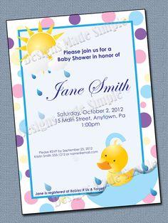 Baby Shower Invitation - Printable - Duck.