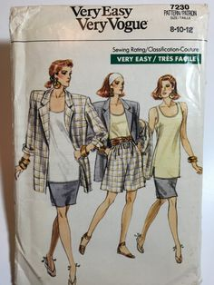 Vintage jacket, top, skirt and shorts pattern Very Easy Very Vogue 7230 Uncut Sizes 8, 10 and 12 1980s shoulder pads, power dressing,  Etsy weseatree patterns 1980s