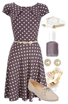 """""""Teacher Outfits on a Teacher's Budget 39"""" by allij28 ❤ liked on Polyvore featuring LC Lauren Conrad, Wallis, Charlotte Russe, Essie, Infinite, oxford shoes, polka dots and skinny belts"""