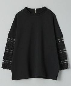 JEANASIS(ジーナシス)のソデレースプルオーバー8S/715401(Tシャツ/カットソー)|ブラック