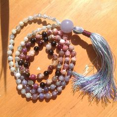 Tanzanite Tourmaline aquamarine Mala beads small 6mm