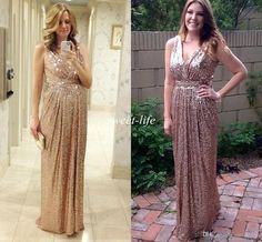 Cheap Formal Dresses Hot Sale 2015 Maternity Evening Dresses Plus Size V Neck Sheath Backless Long Party Prom Dress Bling Rose Gold Sequins Bridesmaid Dresses Dresses For Juniors From Sweet Life, $82.11| Dhgate.Com
