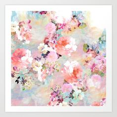 Romantic Pink Teal Watercolor Chic Floral Pattern . a girly, elegant and chic floral pattern featuring beautiful and preppy vintage victorian roses and peonies in light pink and orchid purple on a modern and abstract pink and teal pastel watercolor strokes pattern . perfect feminine gift for the flower and nature lover with a sense for trends and fashion.<br/> <br/> <br/> chic,flowers,floral+pattern...