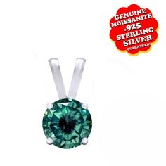 """1.00 Ct Real Green Moissanite 18K Gold Solitaire Pendant Without Chain """"Mother\'s Day Gift"""". Starting at $99"""