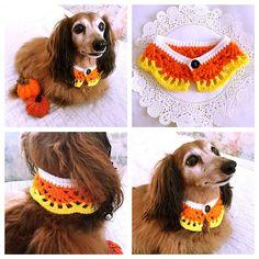 Crochet Dog Scarf Dog Collar Dog Bandana Dog by KichijojiKawaii Crochet Dog Clothes, Crochet Dog Sweater, Crochet Collar, Pet Clothes, Diy Crochet, Crochet Crafts, Crochet Projects, Crochet Baby, Candy Corn