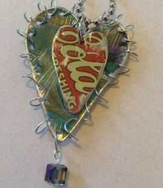 Handcrafted Homemade Recycled Upcycled Tin Swarovski Heart Necklace Coca Cola
