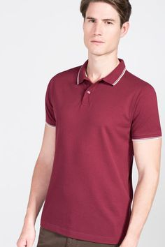 Cortefiel Short sleeve polo Natural