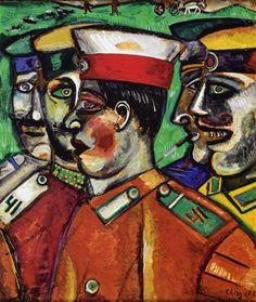 """Chagall, Pintor De Sonhos... """"Soldados"""",1912,Coleção Particular"""