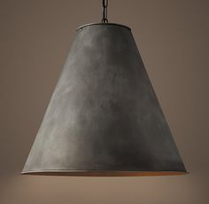 "RH Antiqued Metal Cone 24"" Pendant - Aged Steel $495. Overall: 24"" diam., 22¼""H"