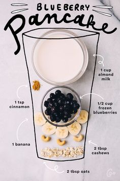 13. Blueberry Pancake #greatist http://greatist.com/eat/simple-smoothie-recipes