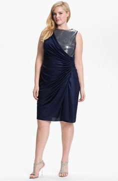 Adrianna Papell Sequined Jersey Drape Dress (Plus) | Nordstrom