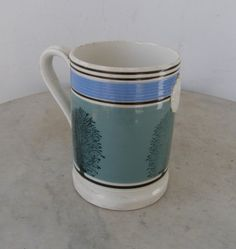 ANTIQUE MOCCAWARE TANKARD Mochaware Mocha Mocca Ware Mug 5 Colors Blue-Green…