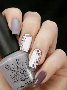 brown and white nail art  ✿