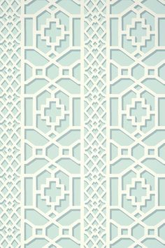 Memories of my Dining Room 1974- Wallcovering / Wallpaper | Zanzibar Trellis in Winter Mint | Schumacher