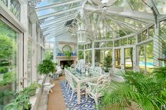 A Ruthie Sommers Home for Sale – The Glam Pad room sale – Garden Room Glass Conservatory, Glam House, Glass Room, Hiding Places, Level Homes, Country Estate, Garden Structures, Glass Garden, W 6