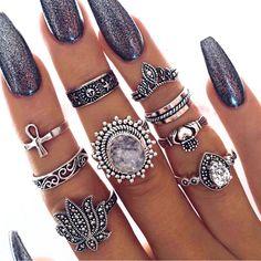 6pcs//set Nouveau Bohémien Vintage Femmes Géométrie turquoise Midi Knuckle Ring
