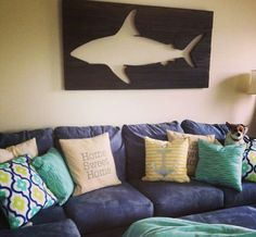 Pallet Shark Wall Art by PeaceLoveWood on Etsy
