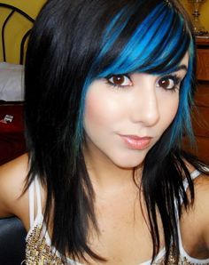 Black hair, blue highlights.....mayyybe not the blue but lighter brown instead
