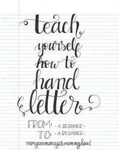 Letter Discover Teach Yourself How to Hand Letter - Morgan Manages Mommyhood Requiring little more than a pen and paper hand lettering is accessible to everyone. Read on for how to teach yourself how to hand letter. Hand Lettering For Beginners, Hand Lettering Tutorial, Hand Lettering Fonts, Doodle Lettering, Handwriting Fonts, Brush Lettering, Penmanship, Lettering Ideas, Simple Lettering