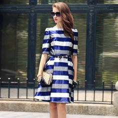 Fashion Simple Womens Round Neck Puff Sleeved Stripes Printed Hit Color Slim New Autumn Dress