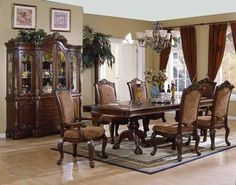 Old Style Dining Room Tables Sets With Green Decoration Made From Wooden  Material Finished In Brown Color Design IdeasElegant Formal Dining Room Furniture   Dark Cherry Finish Vendome  . Formal Dining Room Table Sets. Home Design Ideas