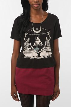 Truly Madly deeply Finis Skeleton Evil Eye Crop Tee $29