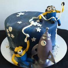 Chocolate mixed betty Minions in space cake