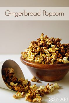 Gingerbread Popcorn great idea for holiday snacking, appetizers or neighbor gifts!