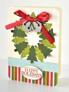 Holiday Wreath Card Designer: Valerie Salmon Difficulty rating: Beginner It's always a bonus when you. Christmas Card Crafts, Christmas Paper, Xmas Cards, Christmas Greetings, Handmade Christmas, Holiday Crafts, Merry Christmas, Holiday Tree, Christmas Trees