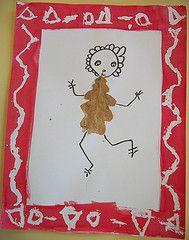 Selfie# autumn leave. Craft for kids, preschool. Draw around the leave. Autoportrait en feuille d'automne avec cadre en graphisme. Travail d'arts plastiques en maternelle. PSIC