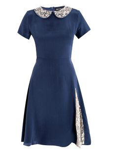 ~House Of Holland Lace Collar Tea Dress in Blue (navy)