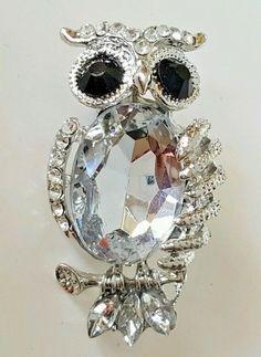 "Silver Tone Crystal Rhinestones Owl Lapel Pin Scarf Brooch 2""  USA Seller #Unbranded"