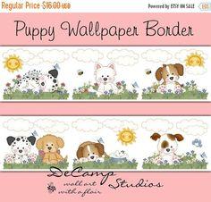 15% SALE PUPPY WALLPAPER Border Decals Wall Art Baby Boy Girl Dog Nursery Kids Puppies Room Childrens Bedroom Dalmatian Westie Bee Stickers