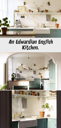 devol kitchen with mint green cabinetry. Wooden Kitchen, Kitchen Decor, Kitchen Design, Kitchen Countertop Organization, Kitchen Countertops, Devol Kitchens, Messy Kitchen, English Kitchens, Scandinavian Kitchen