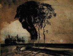 Victor Hugo, Landscape with Three Trees, an ink drawing made in from the imagination and not from an actual landscape; in the collection of the Maison de Victor Hugo, Paris Marie Tudor, Art Postal, Ernst Haeckel, Etching Prints, Landscape Drawings, Collage, French Artists, Abstract Expressionism, Painting & Drawing
