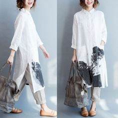 Women cotton linen shirt dress