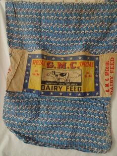 Old Grain Feed Sack w Label Blue Print Fabric
