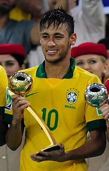 Neymar da Silva Santos, commonly known as Neymar, is a Brazilian footballer who plays for Spanish club FC Barcelona in La Liga and the Brazilian national team as a forward or winger.  At the age of 19, Neymar won the 2011 South American Footballer of the Year award, after coming third in 2010. He followed this up by winning it again in 2012. In 2011 Neymar received nominations for the FIFA Ballon d'Or, where he came 10th, and the FIFA Puskás Award for Goal of the Year, which he won.