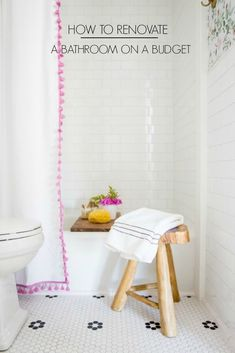 How to Remodel a Bathroom on a Budget. This small pink floral bathroom makeover is full of cheap and DIY decor ideas for your renovation - June 08 2019 at Budget Kitchen Remodel, Budget Bathroom, Bathroom Renovations, Home Remodeling, Bathroom Ideas, Bathroom Makeovers, Kitchen Makeovers, Kitchen Remodeling, Master Bathroom