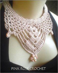 Colar Collar de Crochê. De Pink Rose Crochet.