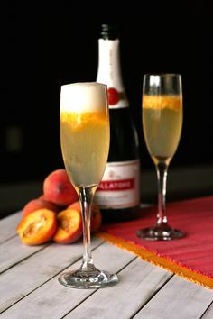 Peach Bellinis Made with fresh peaches and peach snapps.