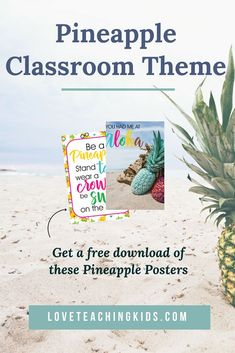 Are you looking for decor ideas for your Pineapple classroom? I have some ideas that you can use for your Pineapple theme.  There are some bright classroom decortions and plenty of DIY ideas that you can use. I also have a free download of Pineapple posters that you can display in your room. #pineappletheme,  #pineappledecor, #classroomdecor, #pineappleclassroom, #pineappleclassroomthemeideas, #classroomtheme